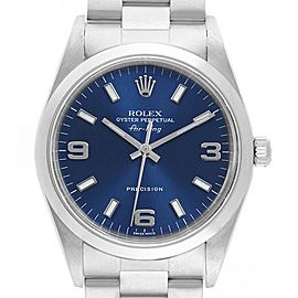 Rolex Air King 34 Smooth Bezel Blue Dial Steel Mens Watch 14000
