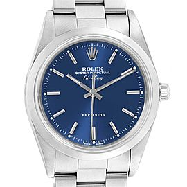 Rolex Air King 34 Blue Baton Dial Automatic Steel Mens Watch 14000