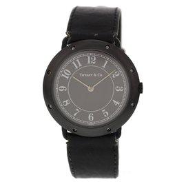 Tiffany & Co. Black Ceramic & Leather Black Dial Quartz 35mm Womens Watch
