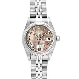 Rolex Datejust 26 Steel White Gold MOP Ladies Watch 79174 Box Papers