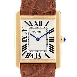 Cartier Tank Solo Yellow Gold Steel Brown Strap Mens Watch W1018855