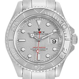 Rolex Yachtmaster 40mm Steel Platinum Dial Bezel Mens Watch 16622