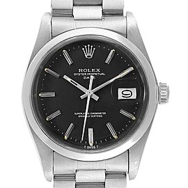 Rolex Date Black Dial Oyster Bracelet Steel Vintage Mens Watch 1500