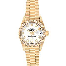 Rolex President Datejust Yellow Gold Diamond Dial Bezel Watch 69258