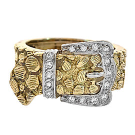 18K Yellow Gold with 0.30ct Round Cut Diamond Nugget Buckle Ring Size 9.50