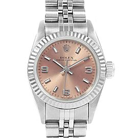 Rolex Oyster Perpetual Non-Date Steel White Gold Ladies Watch 76094