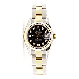 Rolex Oyster Datejust 179173 Two Tone Stainless Steel & 18K Yellow Gold Black Diamond Dial 26mm Womens Watch