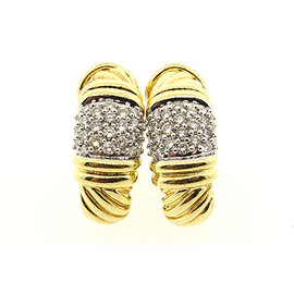David Yurman 18K Yellow Gold with 0.92ct Pave Diamond Cable Shrimp J Huggie Hoop Clip Earrings