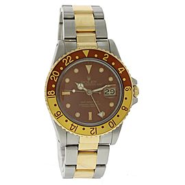 Rolex GMT Master II 16753 18K Yellow Gold & Stainless Steel Automatic 40mm Mens Watch