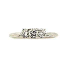 Tiffany & Co. Platinum 3 Stone 0.58ct Diamond Engagement Ring Band Size 8.25