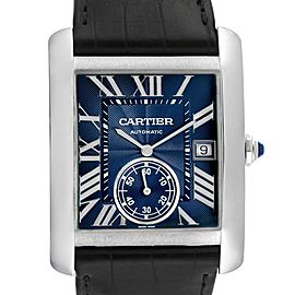 Cartier Tank MC Blue Dial Automatic Steel Mens Watch WSTA0010