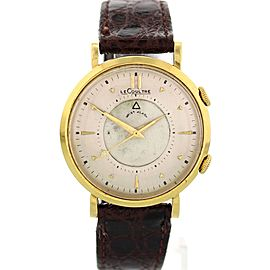 LeCoultre Memovox 14K Yellow Gold & Leather Manual Vintage 35mm Mens Watch