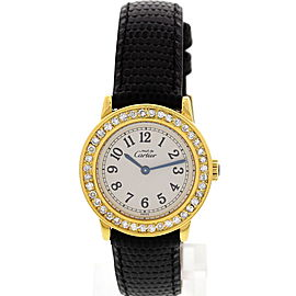 Cartier Must de Cartier 1801 Argent and Leather with Diamonds Quartz 27mm Womens Watch