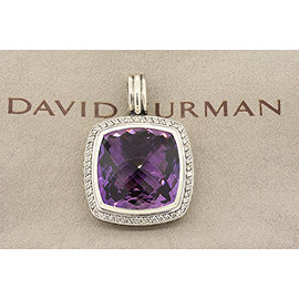 David Yurman 925 Sterling Silver with Amethyst & 0.44ct Diamond Albion Enhancer Pendant