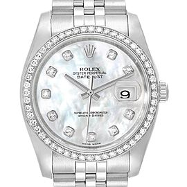 Rolex Datejust 36 Silver Diamond Dial Bezel Unisex Watch 116244 Box Card