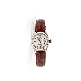 Rolex Datejust 6917 Stainless Steel Brown Leather White Stick Dial 26mm Womens Watch