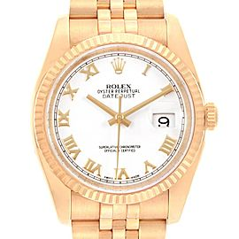 Rolex DateJust Yellow Gold White Dial Automatic Mens Watch 116238