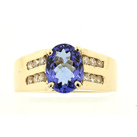 Levian 14K Yellow Gold Oval Tanzanite Diamond Ring Band Size 6.75