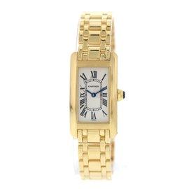 Cartier Tank Americaine 1735 18K Yellow Gold Quartz 34mm Womens Watch