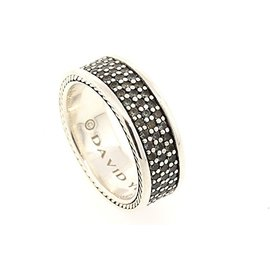 David Yurman 925 Sterling Silver with Gray Sapphire Streamline 3 Row Band Ring Size 11