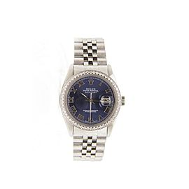 Rolex Datejust 16014 Stainless Steel & Blue Roman Dial 36mm Mens Watch