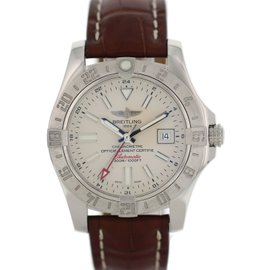Breitling Avenger II GMT A32390 Stainless Steel & Leather Automatic 42mm Mens Watch