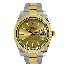 Rolex Datejust II 116333 18K Yellow Gold & Stainless Steel Champagne Dial Automatic 41mm Mens Watch