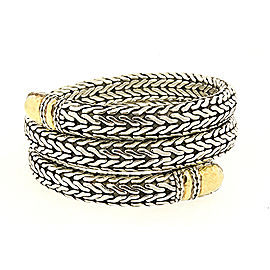John Hardy Palu 925 Sterling Silver and 22K Yellow Gold Double Coil Wrap Bracelet