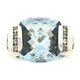 David Yurman Deco Sterling Silver Blue Topaz and 0.25ct. Diamond Ring Size 5.75