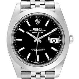 Rolex Datejust 41 Black Dial Stainless Steel Mens Watch 126300 Box Card