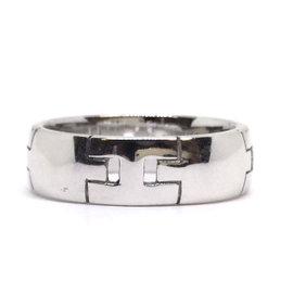 Hermes 18K White Gold Hercules Ring Size 4.25