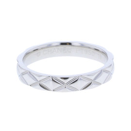 Chanel Platinum Matelasse Ring Size 7