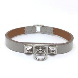 Hermes Silver Tone Hardware & Leather Micro Rival Bracelet
