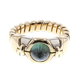 Bulgari Tubogas 18K Yellow Gold with Tourmaline Ring Size 8.5