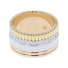 Boucheron Cattle Classic 18K Yellow White and Rose Gold with Diamond Ring Size 6.75