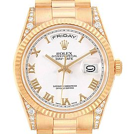 Rolex President Day Date Yellow Gold Diamond Lugs Mens Watch 118338