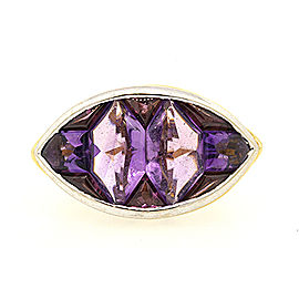 John Hardy 18K Yellow & White Gold Amethyst Ring Size 7