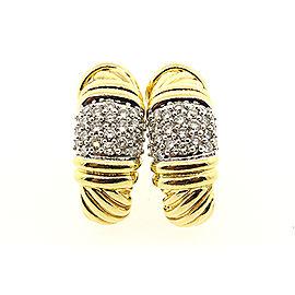 David Yurman 18K Yellow Gold with 0.92ct Diamond Cable Shrimp J Huggie Hoop Earrings