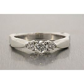 Diamond Engagement Ring 14k White Gold 3 Stone 1/2 .50ct I SI2 Band sz 8.25