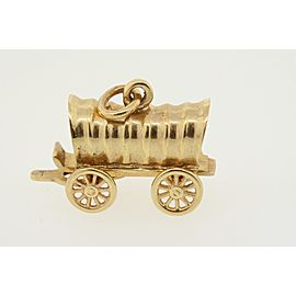 Horse Drawn Carriage Charm Pendant 14k Yellow Gold Covered Wagon Diamond 5.8g