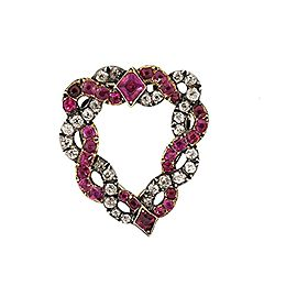 Georgian Witches Heart Clip Dress Pin Burma Ruby Diamond Silver Gold Intertwined