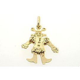 "Clown Charm Pendant 14k Yellow Gold Large 1.5"" Moving Articulated Circus"
