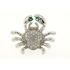 "Lobster Crab Pin Brooch 14K White Gold Pave Diamond Green Stone Large 1"" 5.4G"