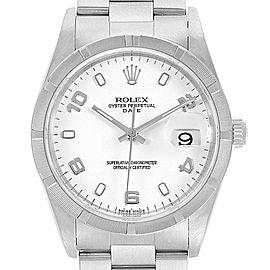Rolex Date White Dial Oyster Bracelet Steel Mens Watch 15210