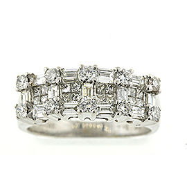 Levian 18k White Gold Baguette Round Princess Cut Diamond Band Ring sz 6