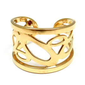 Roberto Coin 18K Yellow Gold Chic and Shine Cuff Ring Size 6.25