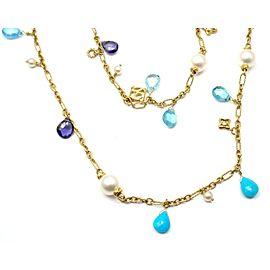 David Yurman 18k Yellow Gold Turquoise Cultured Pearl Tanzanite Necklace