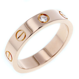 Cartier Mini Love Ring 18K Rose Gold with 0.05ct Diamond Size 4.75