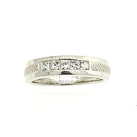 Leo Mens Princess Cut Diamond Wedding Band Ring 14k White Gold .69ct EF SI 11.5