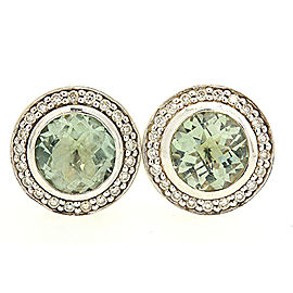 David Yurman Cerise 925 Sterling Silver Prasiolite & 0.42ctw Diamond Stud Earrings